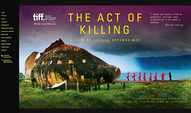 "Page d'accueil du site internet du film ""The Act of Killing""."