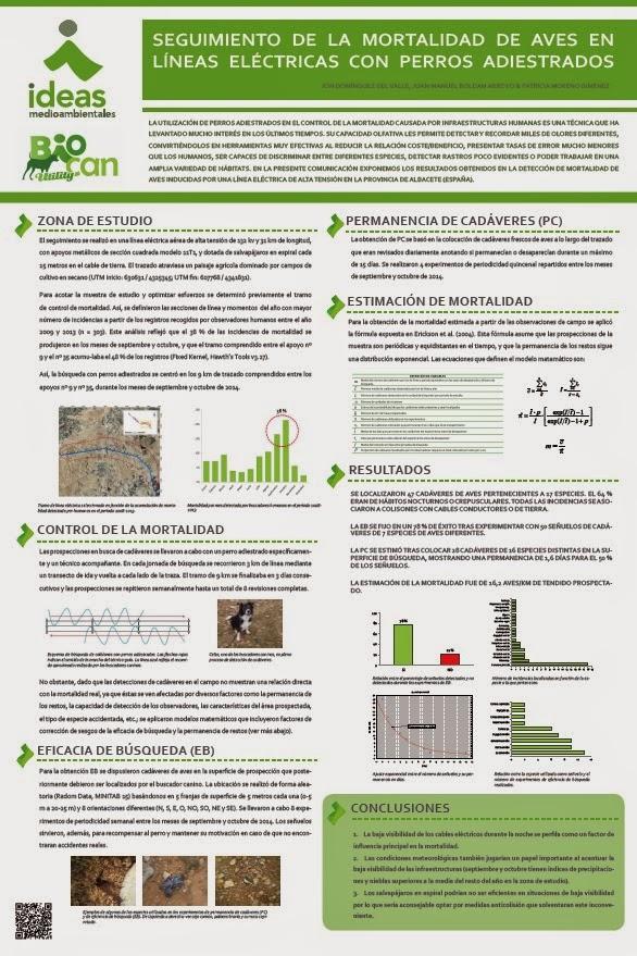 Domínguez et al. 2015. Seguimiento de la Mortalidad de Aves en Líneas Eléctricas con Perros Adiestrados. Poster