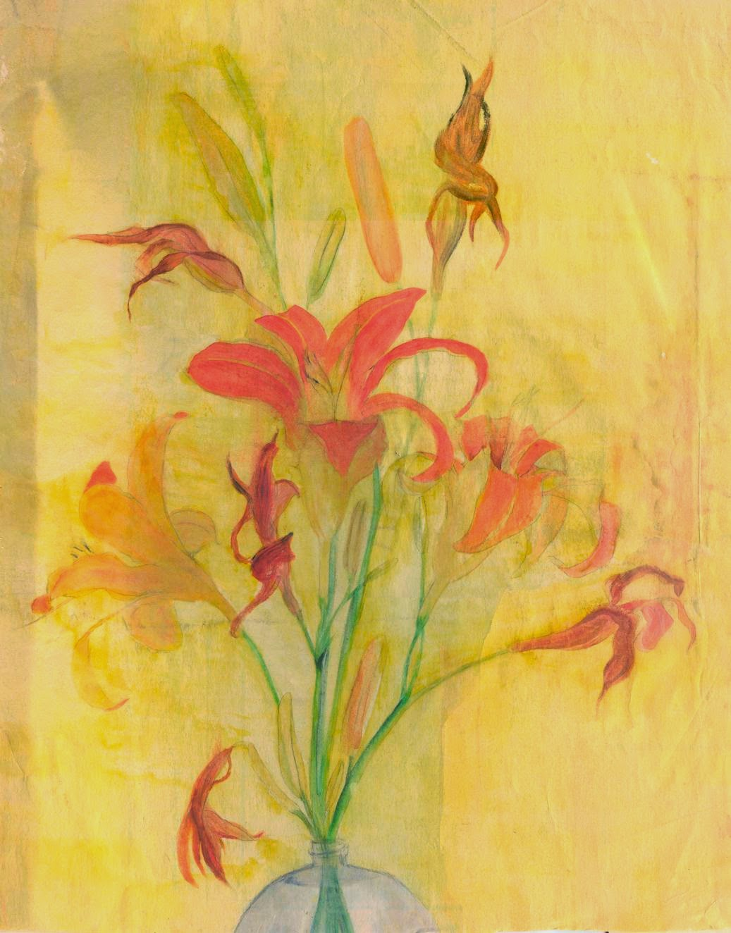 daylily watercolor art orange yellow
