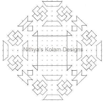 Kolam 107: Diwali Kolam 21 to 5 dots 2