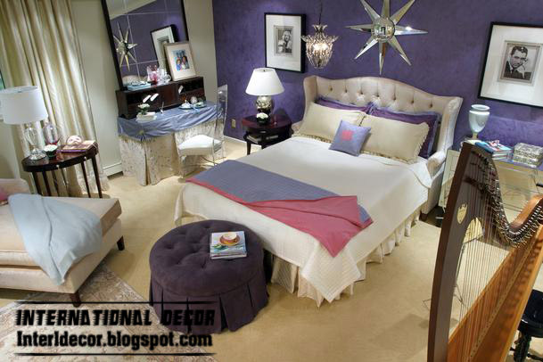 modern bedroom design in purple color for bed room paint