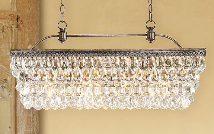 Pottery Barns Clarissa Glass Drop Extra Long Rectangular Chandelier 30 In Length