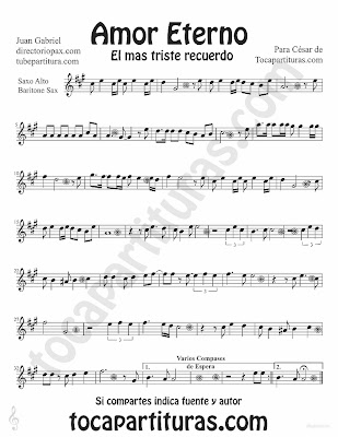 Tubescore Etern Love by Juan Gabriel sheet music for Alto Saxophone Baritone Saxophone Rocio Durcal Bolero music score