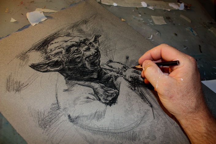 Yoda WIP, Original Artwork, Copyright © 2014 Jeff Lafferty
