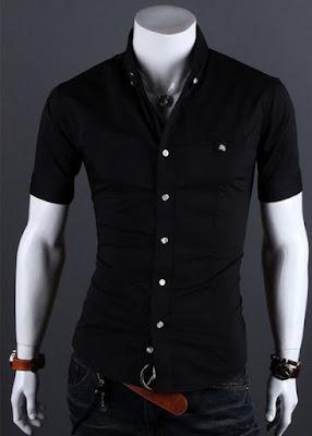 model kemeja hitam polos slim fit murah