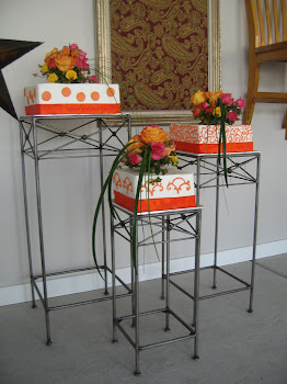 3-tier square buttercream with fondant