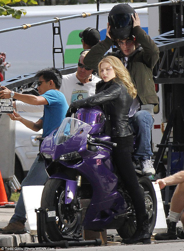 Chloe Moretz Rides A Purple Ducati Panigale For 'Kick-Ass' Sequel