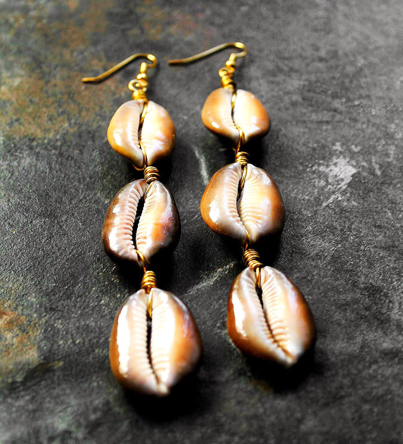 african cowry shell earrings