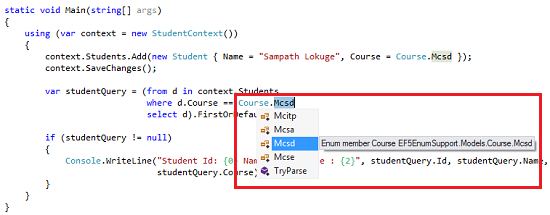 enum properties in your entity classes