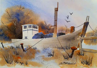 Old Boat - Heybridge watercolour by Ian Davy Brown