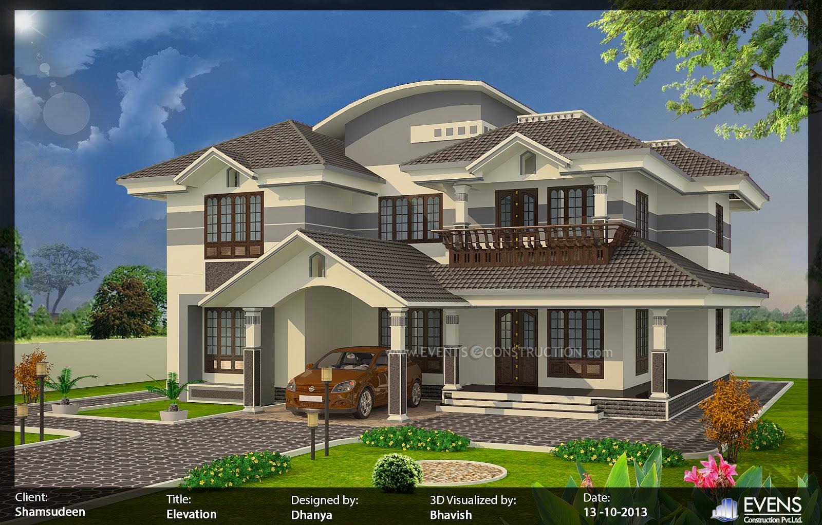 Evens construction pvt ltd 5 bedroom house exterior for 2400 sq ft house plans 3d