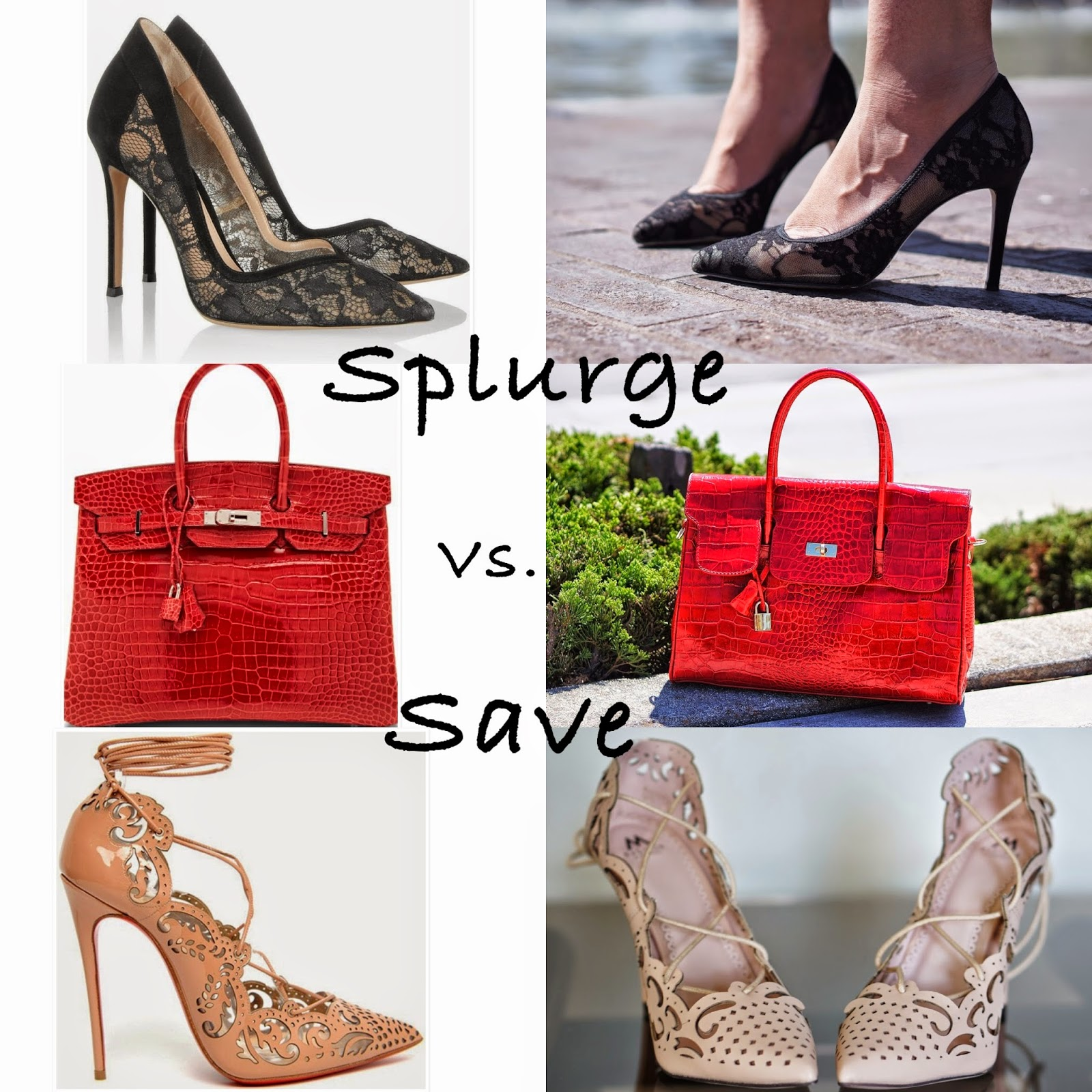 Hermes 35cm Crocodile Birkin Red, Gianvito Rossi Lace Pumps, Black Lace Heels,Shoemint Lace heels
