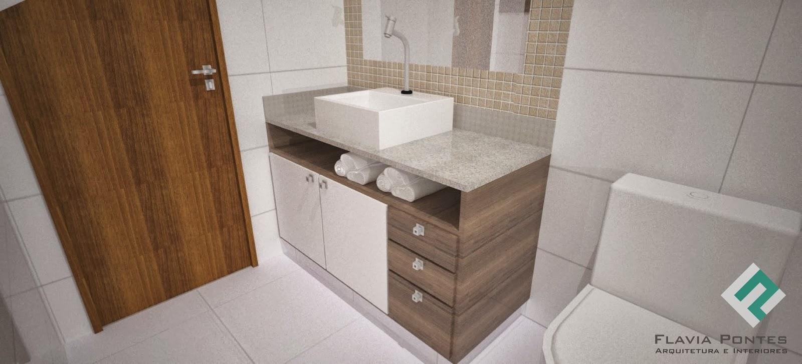 Flavia Pontes Arquitetura -> Banheiro Pequeno Branco E Marrom
