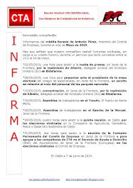 C.T.A. INFORMA CRÉDITO HORARIO ANTONIO PÉREZ, MAYO 2019