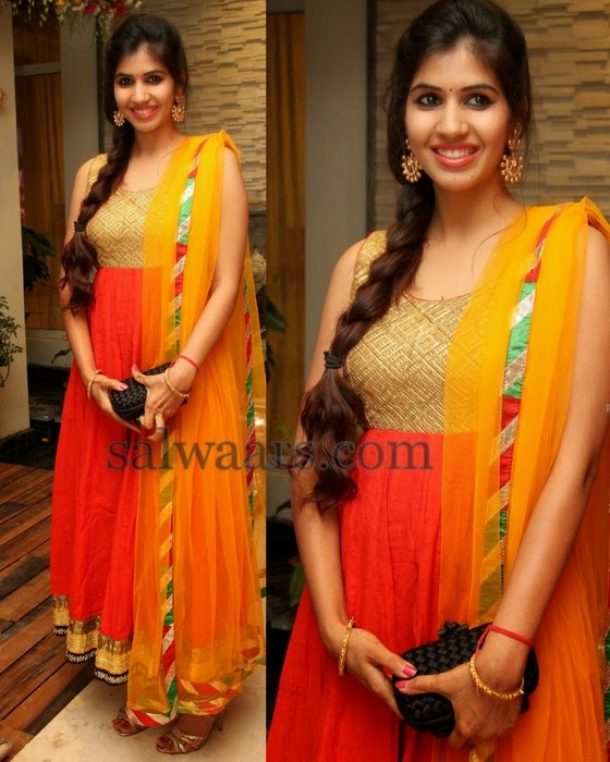Orange Anarkali Salwar