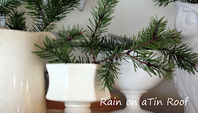 Simple Christmas Decorating with Greenery {rainonatinroof.com}