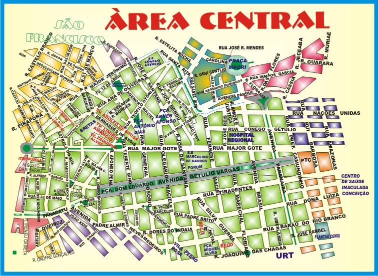 Mapa Àrea Central Patos de Minas