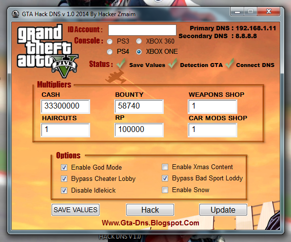 Grand Theft Auto 5 Hack DNS v 1.0 By Hacker Zmaim