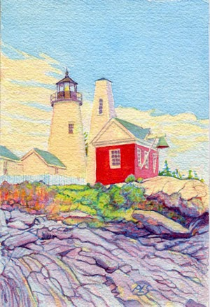 "Pemaquid Point Lighthouse - Watercolor 5"" x 7"""
