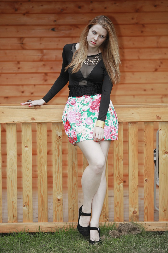 lucie srbová, style without limits, květovaná sukně, zara
