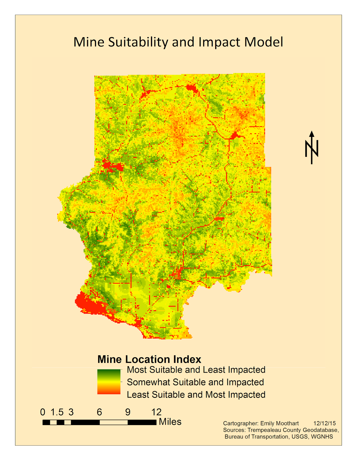 the map depicts the location where is it best to mine in trempealeau county while minimizing disturbances such as streams and residential areas and