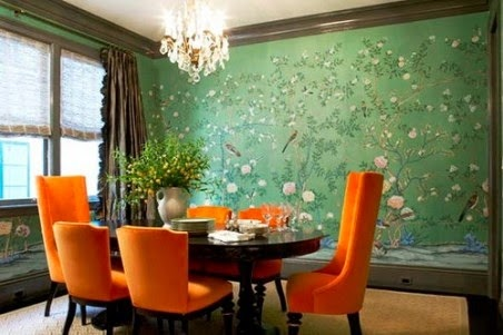 Green and Orange Colors Dining Room Design