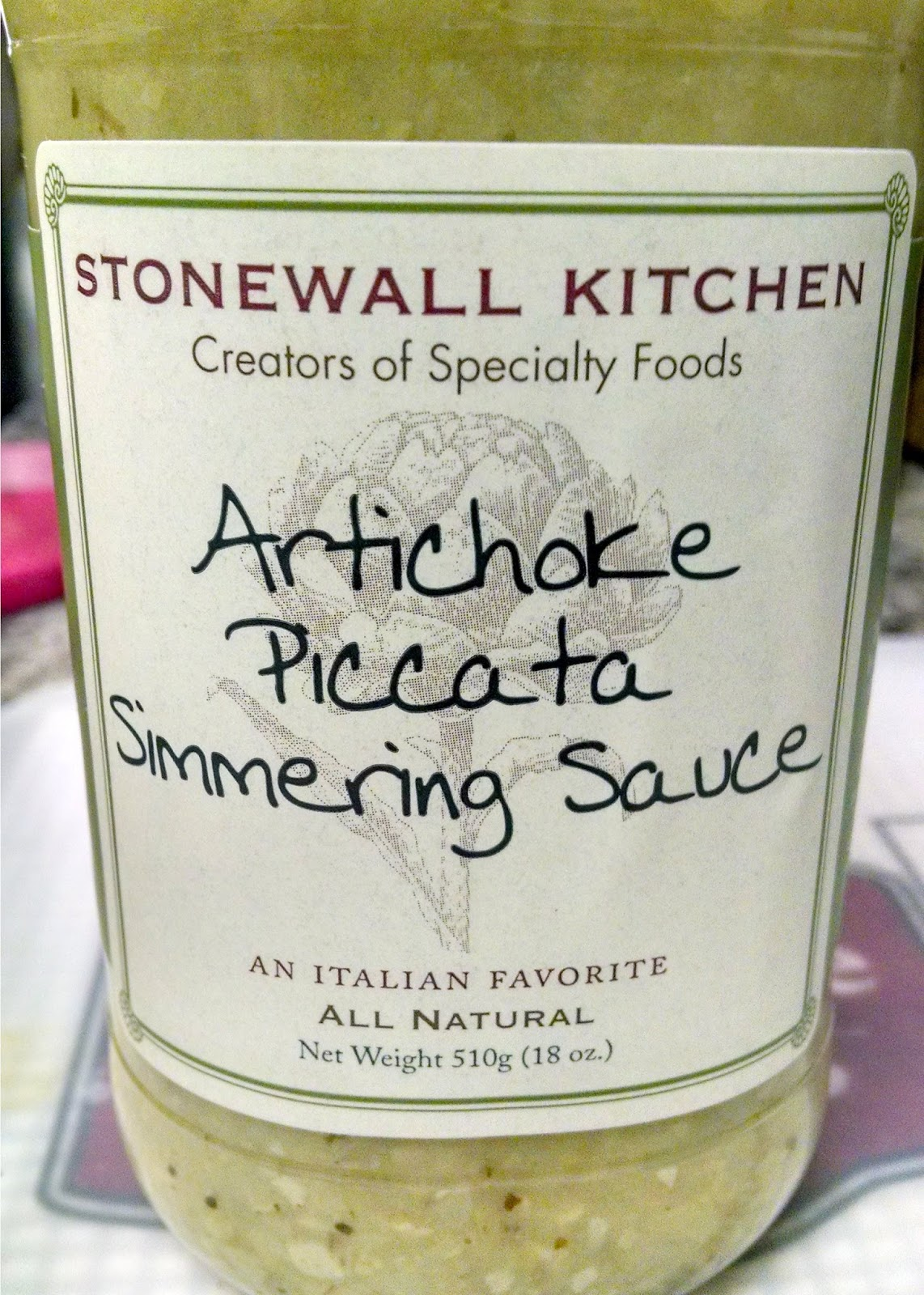 A Kitchen Hoor | Stonewal Kitchen Artichoke Piccata Simmering Sauce - Product Review