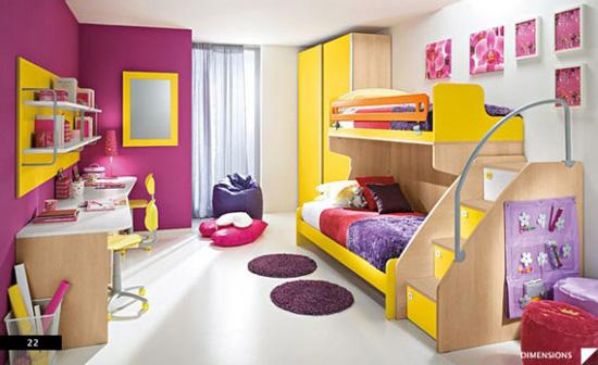 Desain Interior Nuansa Ungu Kuning pada Kamar Anak - Purple Yellow Children Bedroom