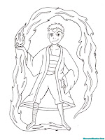 Mewarnai Gambar Avatar Aang Berlatih Menguasai Jurus Pengendalian Api