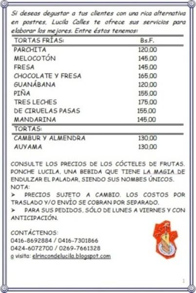 Ponche Lucila y Ofertas de Tortas Frias