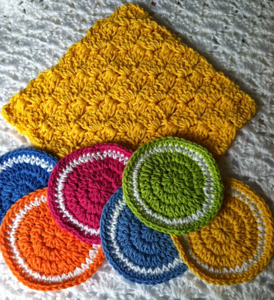 Lakeview cottage kids free crochet coaster pattern colors of set of 6 crochet coasters bankloansurffo Images