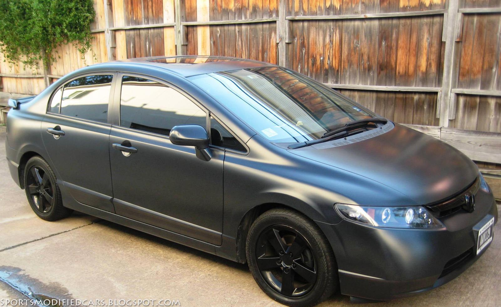 matte black civic sports modified cars