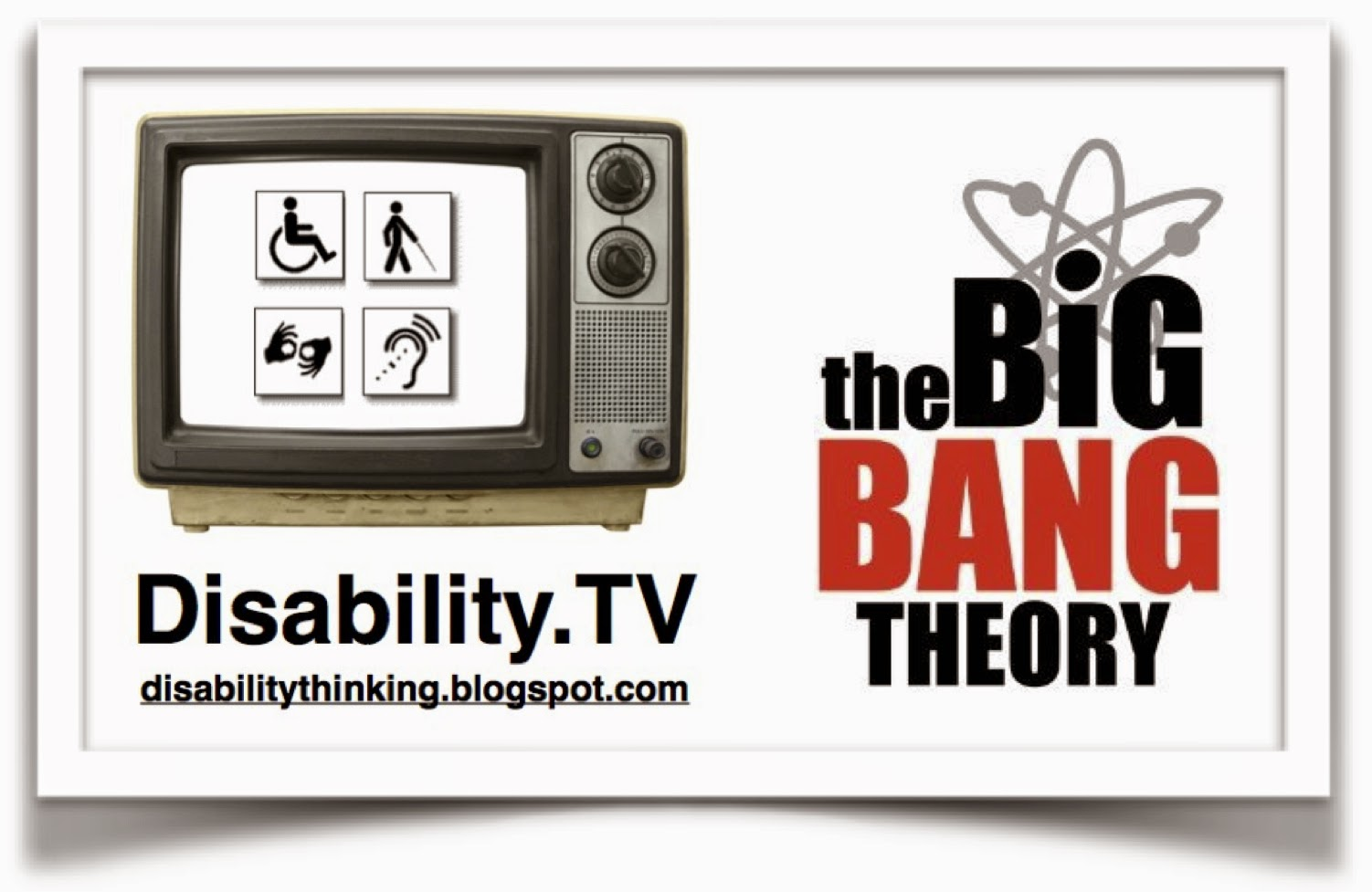 Disability.TV logo on the left, Big Bang Theory logo on the right.