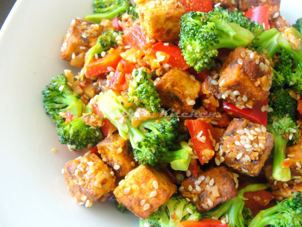 ... Sesame Crusted Tofu Salad with Broccoli and Bell Pepper | Indian Tofu