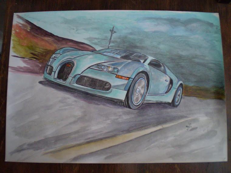 Bugatti veyron blue, acrylic, hand painted, signed Joli, A4