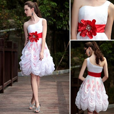 White One Shoulder Knee Length Dress