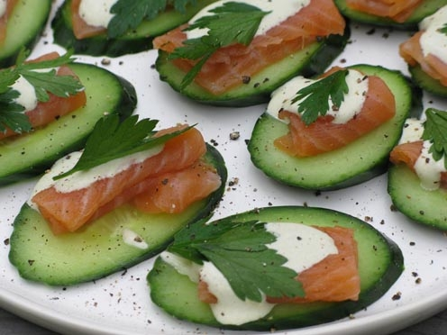 Cucumber with salmon snack