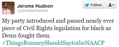 My party introduced and passed nearly ever piece of Civil Rights legislation for black as Dems fought them. ‪#ThingsRomneyShouldSaytotheNAACP