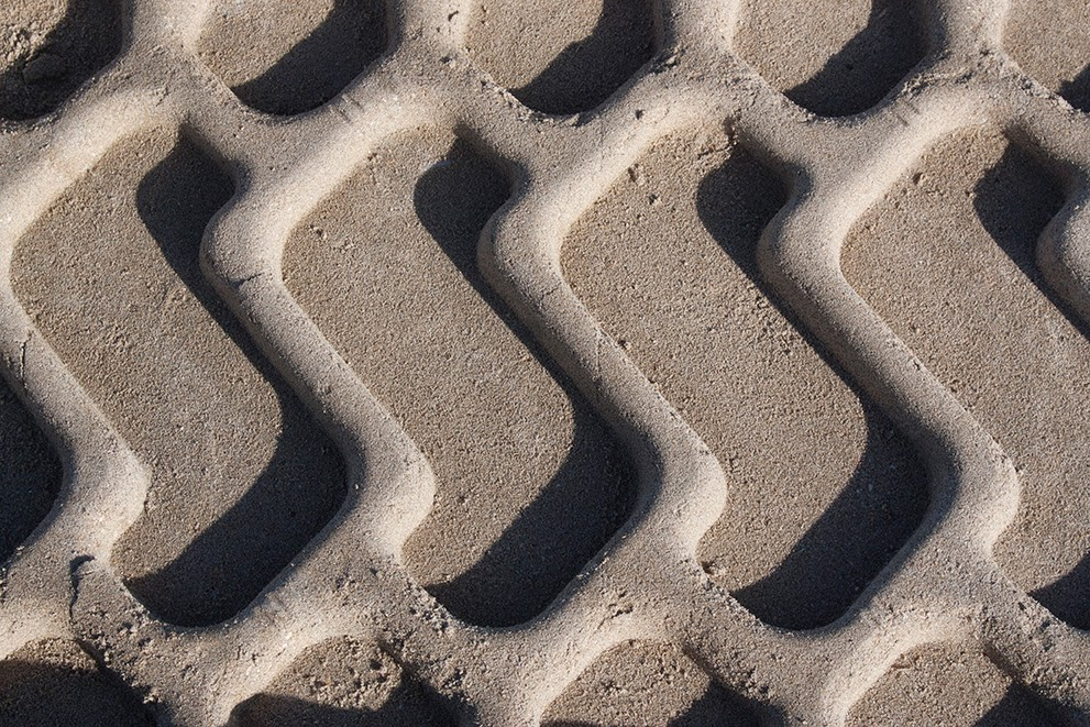 pattern of truck tire in sand