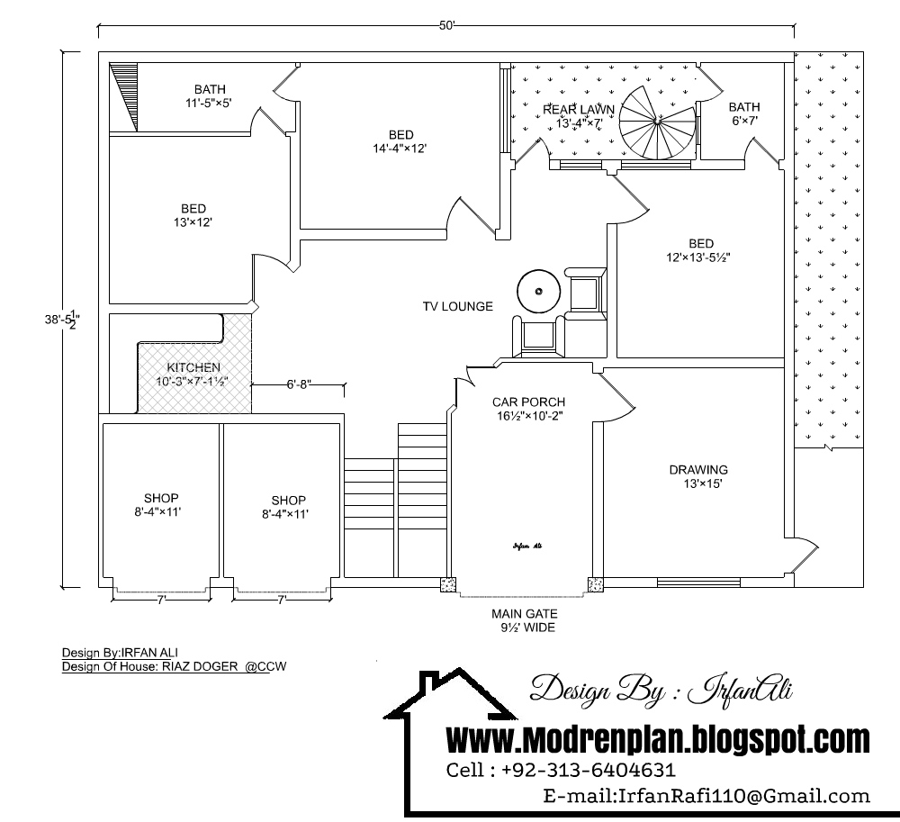10 marla beautiful house drawing with detail 50x38 house plan Good house map