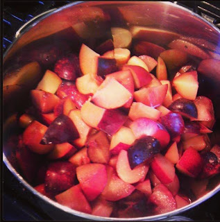Chopped plums