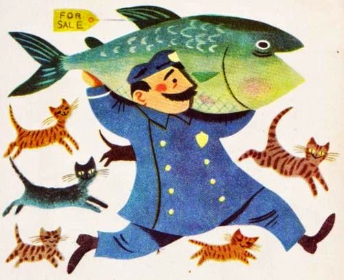 policeman carrying a giant fish illustration by J.P.Miller