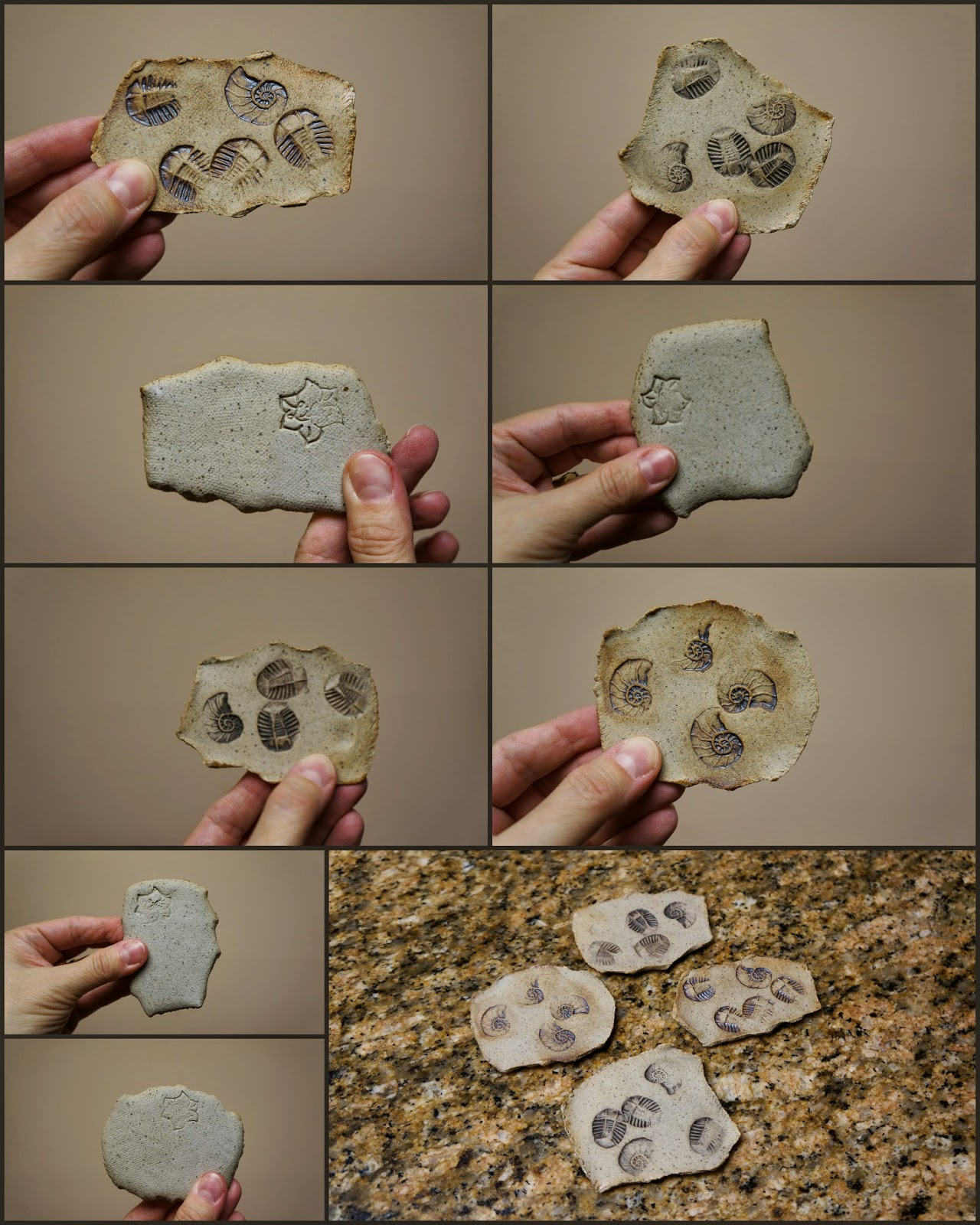 Unique handmade nature inspired ceramic stoneware faux fossil pieces