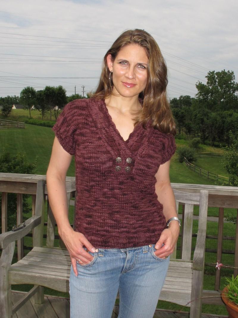 Stylish Knitting Patterns : Stylish Knits: Free Knitting Pattern: Hers Jeweled Vest Top