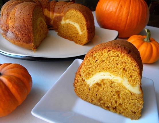 Cleo Coyle Recipes.com: Pumpkin Cake with Surprise Cream Cheese Swirl ...