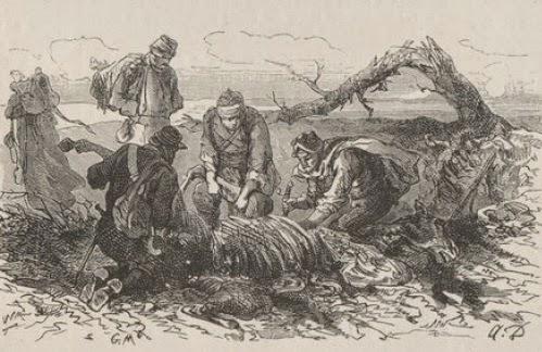 On parlait aussi de chevaux tués dans les combats, puis dépecés sur place et mangés par les soldats