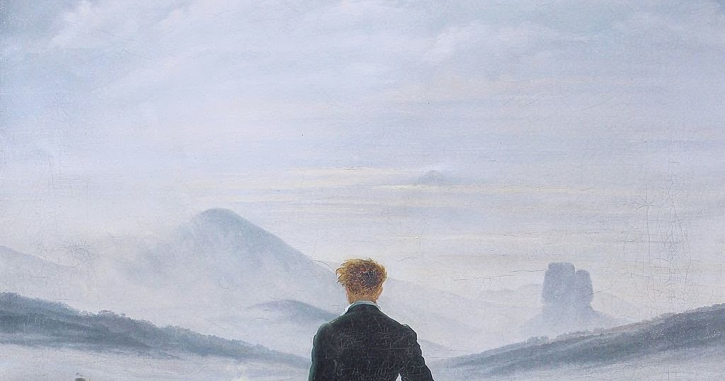 caspar david friedrich wanderer above the fog Above it in that turbulent middle section blue-grey clouds gather giving way in the   caspar david friedrich, wanderer above the sea of fog, 1818, oil on.