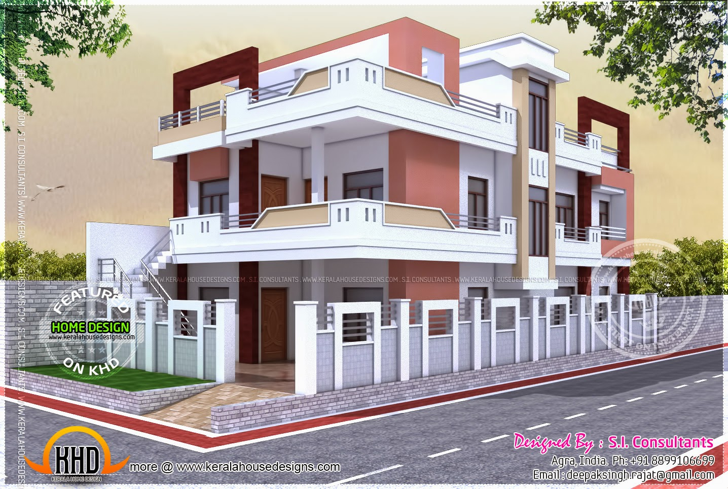 Floor plan of north indian house home kerala plans for Home front design indian style