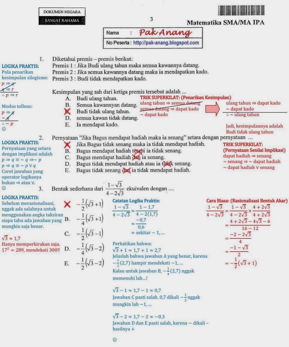 Matematika Di Sma Soal Dan Pembahasan Un 2013 Matematika Ipa Sma Ma