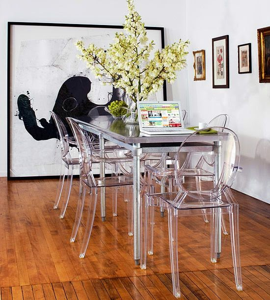 steel dining table modern acrylic ghost chairs black and white art